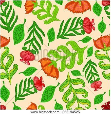 Pattern Seamless Flowers Colored Unusual Print Design Textile Texture Background Nature Vector Wrapp
