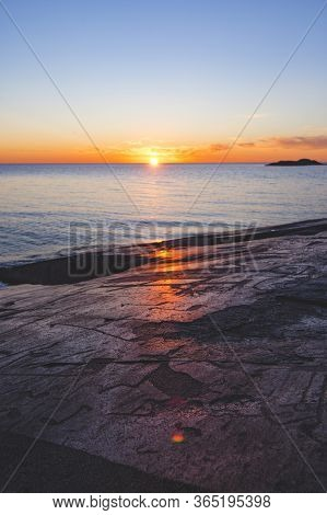 Petroglyphs On Cape Besov Nose. Rock Paintings From Lake Onega. Karelia, Russia