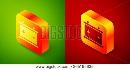 Isometric Car Battery Icon Isolated On Green And Red Background. Accumulator Battery Energy Power An