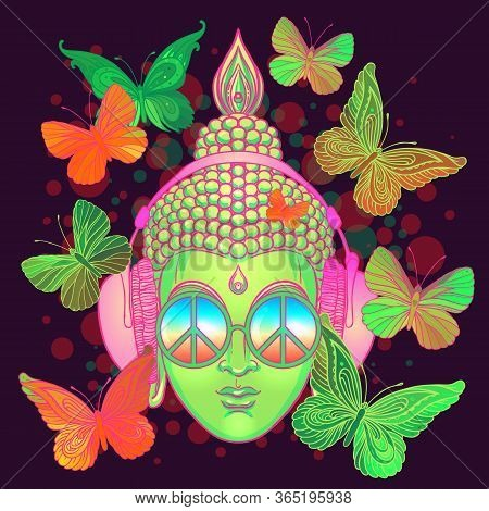 Peace And Love. Colorful Buddha In Rainbow Glasses Listening To The Music In Headphones. Vector Illu