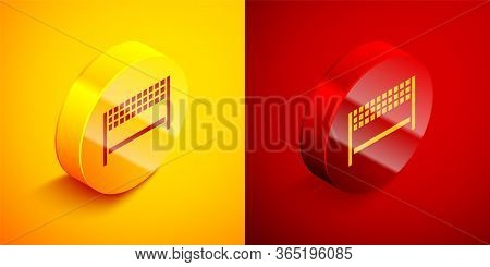 Isometric Ribbon In Finishing Line Icon Isolated On Orange And Red Background. Symbol Of Finish Line