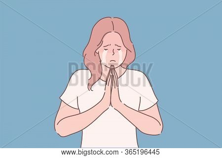 Religion, Praying, Begging Concept. Young Unhappy Desperate Woman Or Girl Cartoon Character Begging