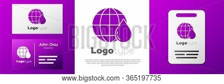 Logotype Earth Planet In Water Drop Icon Isolated On White Background. World Globe. Saving Water And