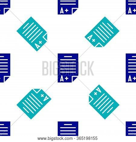 Blue Exam Sheet With A Plus Grade Icon Isolated Seamless Pattern On White Background. Test Paper, Ex