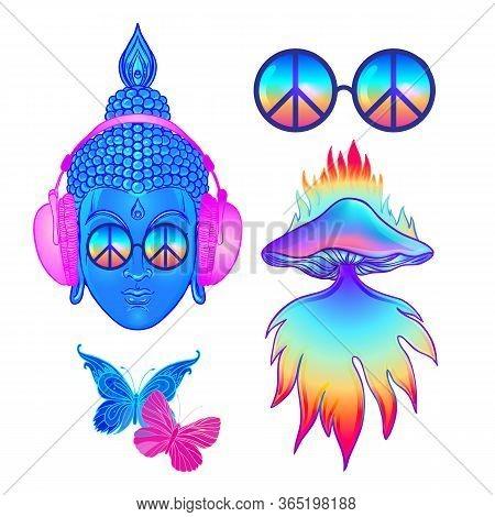 Psychedelic Sticker Set: Trippy Mushrooms, Peace Sign Acid Buddha, Butterflies, All-seeing Eye Manda