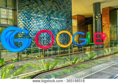 Singapore - May 5, 2018: Google Welcome Sign On The Lobby Of New Google Headquarters, Mapletree Busi