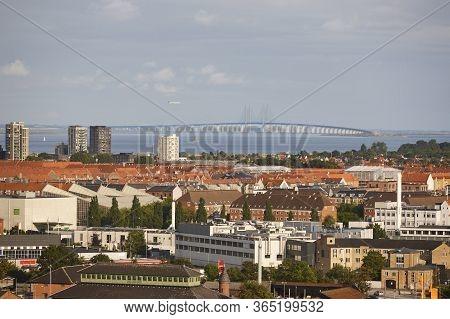 Oresund Bridge Between Denmark And Sweden. Copenhague And Malmo. Landmark
