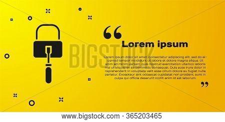 Black Lockpicks Or Lock Picks For Lock Picking Icon Isolated On Yellow Background. Vector Illustrati