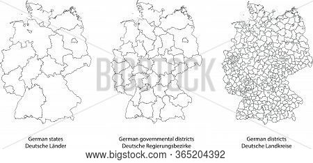 Three Detailed Vector Maps Of German States, Governmental Districts And Municipalities In White Colo