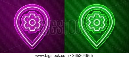 Glowing Neon Line Location With Car Service Icon Isolated On Purple And Green Background. Auto Mecha