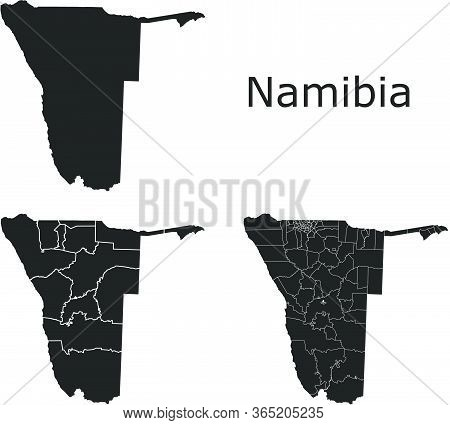 Namibia Vector Maps With Administrative Regions, Municipalities, Departments, Borders