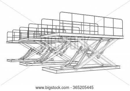Scissors Lift Concept Outline. Vector Rendering Of 3d. Wire-frame Style. The Layers Of Visible And I