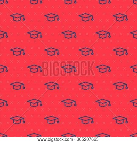 Blue Line Graduation Cap Icon Isolated Seamless Pattern On Red Background. Graduation Hat With Tasse