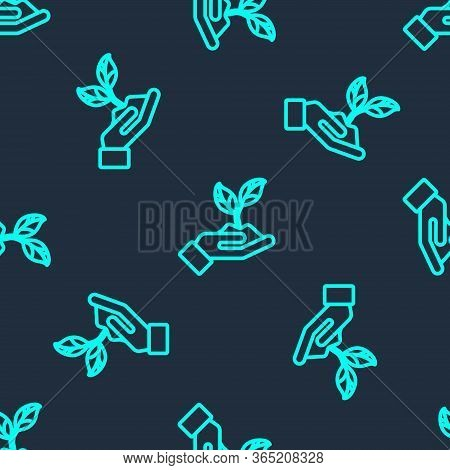Green Line Plant In Hand Of Environmental Protection Icon Isolated Seamless Pattern On Blue Backgrou