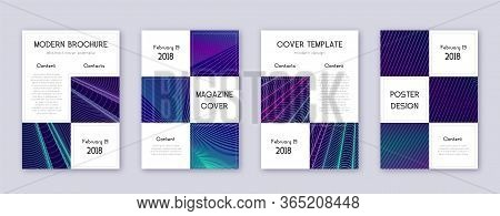 Business Brochure Design Template Set. Neon Abstract Lines On Dark Blue Background. Adorable Brochur