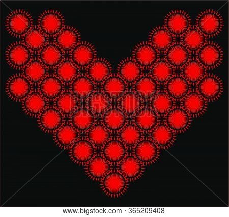 Weird And Scary Heart Made Of Red And Black Suns. Flat Pattern, Geometric Suns. .