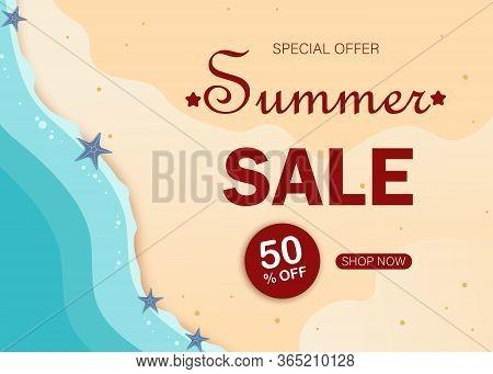 Summer super sale banner with beach. Tropical summer background and summer backdrop. Summer Promo badge for seasonal offer, summer promotion, summer advertising. Vector summer set background.