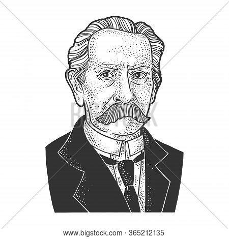 Karl Benz Portrait Sketch Engraving Vector Illustration. T-shirt Apparel Print Design. Scratch Board
