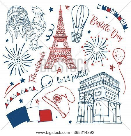 Bastille Day Set. Titles In French National Celebration, 14th Of July. Eiffel Tower, Triumphal Arch,