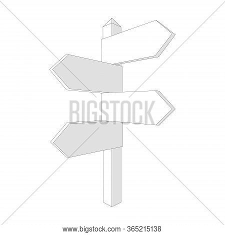 Vector Blank Direction Signpost Sign Arrow Icon Isolated On Background