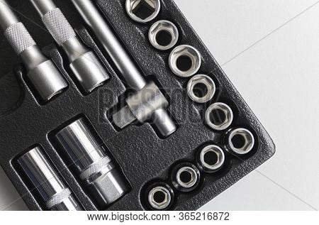 Socket Wrench Toolbox Background. Industrial Socket Set Inside Toolbox, Ratchet Socket Kit.shallow D