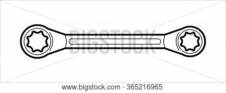 Wrench - Locksmith Hand Tools - Flat Illustration On White Background, Coloring Book