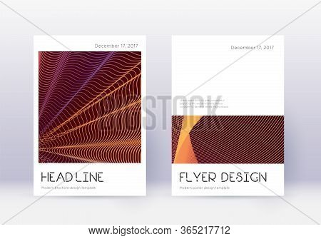 Minimal Cover Design Template Set. Orange Abstract Lines On Wine Red Background. Delightful Cover De