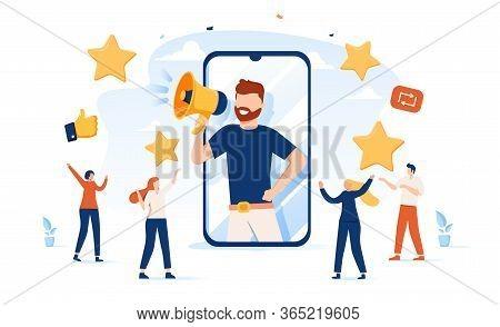 Vector Illustration, Referral Marketing Concept, Friends Loyalty Program, Promotion Method. Concept