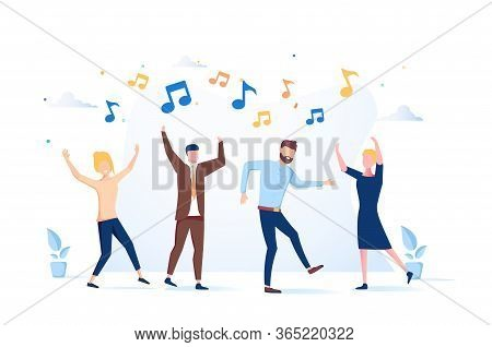 Vector Illustration, A Group Of People Dancing And Having Fun To The Music.entertainment Event, Exci