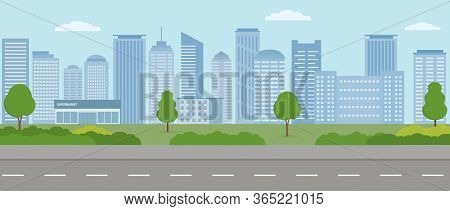 Empty Modern City. City Life Illustration With House Facades, Road And Other Urban Details.  Panoram