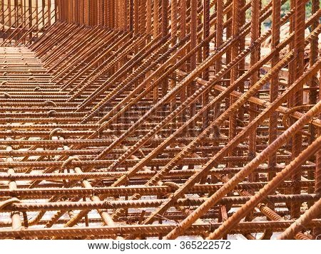 Metal Reinforcement Frame Of A Monolithic Reinforced Concrete Retaining Wall