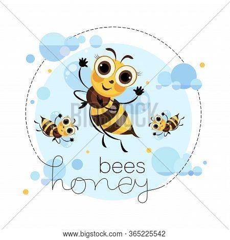 Swarm Bees. Honey Bees Fly In The Clouds. Cartoon Cute Character. Emblem, Sticker, Label, Mascot. Le