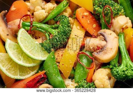 Pad Pak Ruam Or Veg Thai Stir-fried Vegetables Close Up Texture. Pad Pak Is Thailand Cuisine Vegetar