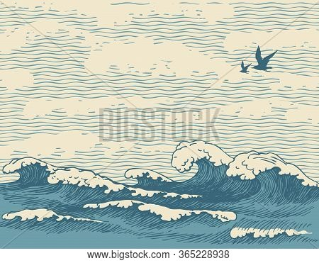 Vector Hand-drawn Seascape In Retro Style With Waves, Seagulls And Clouds In The Sky. Decorative Ill