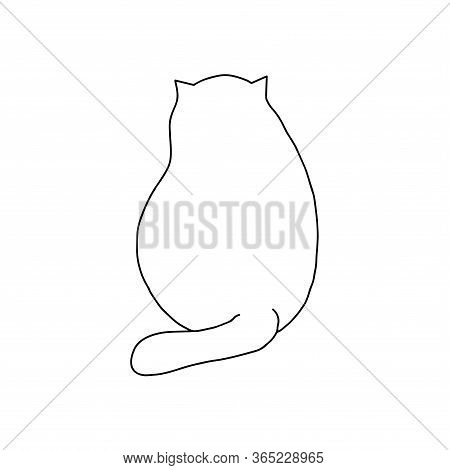Vector Outline Illustration Of A Simple Cute Funny Sitting Cat View From Behind, Hand Drawn Doodle C