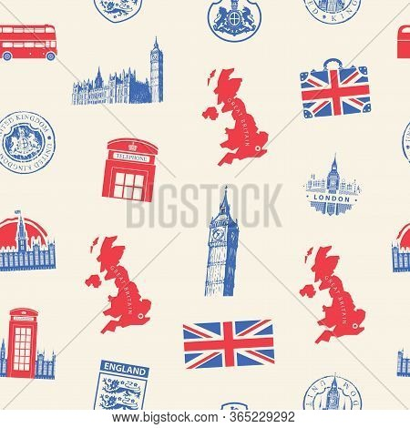 Vector Seamless Pattern On Uk And London Theme With British Symbols, Architectural Landmarks And Fla