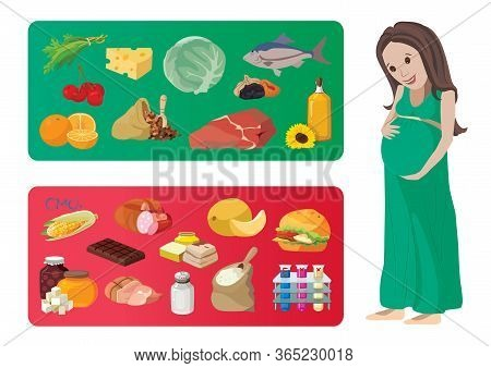 Useful And Harmful Foods During Pregnancy. For Your Convenience, Each Significant Element Is In A Se