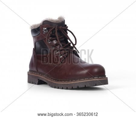 Dark brown boot isolated on white background