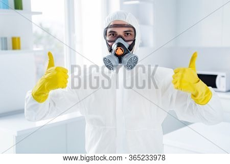Portrait Of Successful Worker Cleaner Man In Glasses Gloves Show Thumb Up Symbol Approve Decontamina