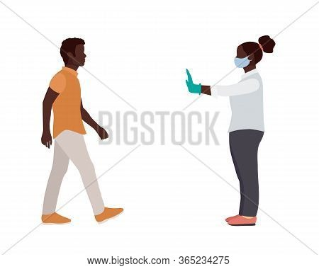 African Americans Woman With Mask And Medical Gloves Warns Man Opposite Him To Keep Distance. Flat V