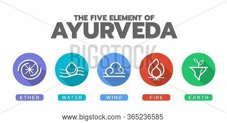 The Five Elements Of Ayurveda With Ether Water Wind Fire And Earth , Line  Icon In Circle Sign Vecto