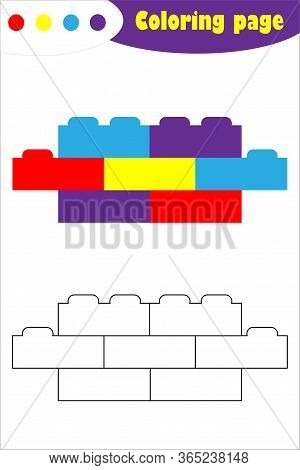 Toy Blocks In Cartoon Style, Coloring Page, Education Paper Game For The Development Of Children, Ki