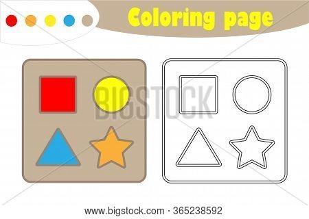 Shape Puzzle In Cartoon Style, Coloring Page, Education Paper Game For The Development Of Children,