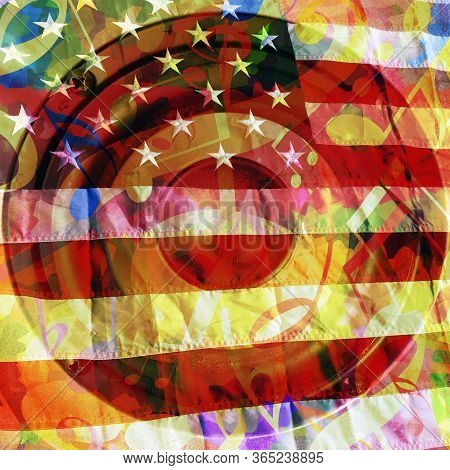 Music Background With Musical Notes, Loud Speaker And American Flag