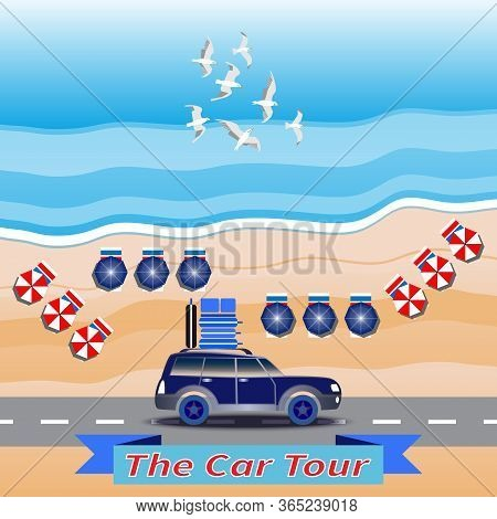 Blue Car Drives By Coastal Road. Luggage On Car Roof. Seascape Background. Flying Seagulls. Sea Wave