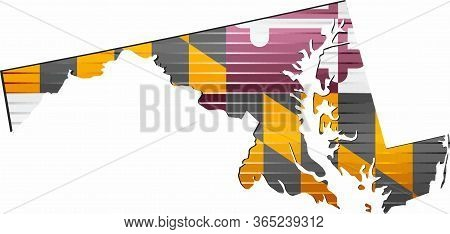 Shiny Grunge Map Of The Maryland - Illustration,  Three Dimensional Map Of Maryland