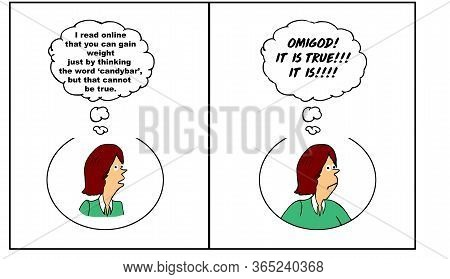 Color Cartoon Strip About A Woman Saying She Cannot Possibly Gain Weight Just By Thinking The Word C