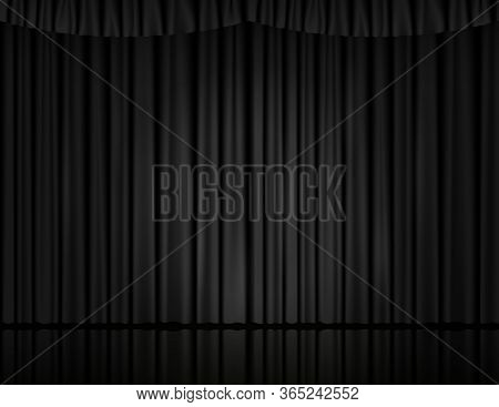 Black Velvet Curtain In Theater Or Cinema. Vector Background With Closed Stage Curtains With Drapery