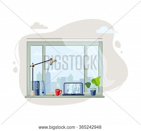 Workplace With Window, Laptop, Potted Plant, Cap With Hot Drink. Home Office Concept. Cozy Workplace