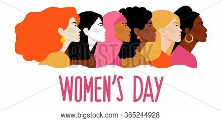 International Women`s Day. Vector Template With Women Different Nationalities And Cultures. Women Lo